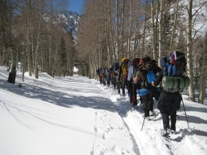 Using snowshoes to backpack in the winter!