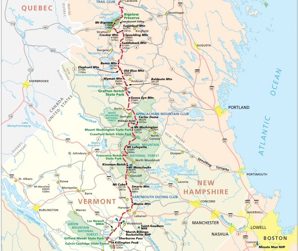 Appalachian Trail Map - Appalachian trail new hampshire map