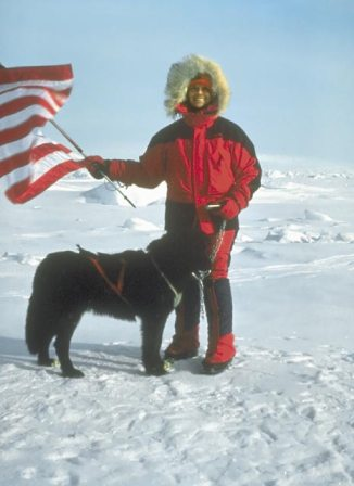 Helen Thayer at the North Pole in 1988