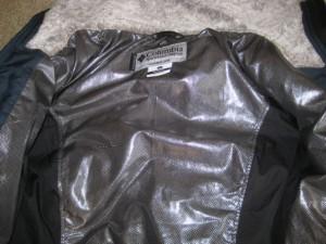 Columbia Omni Heat lining inside the jacket