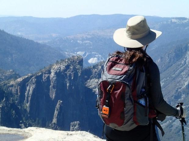 Hiking Lady using the SPOT Gen3 Satellite GPS Messenger in Yosemite