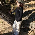 Hiking Lady wearing Woolpower Zip LITE