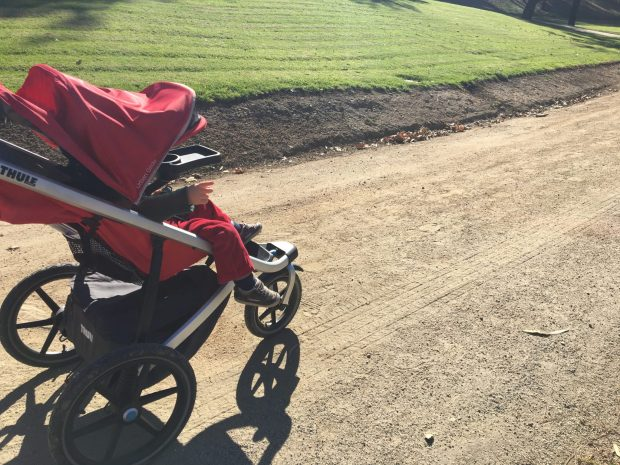 Hiking Baby relaxing in his Thule Urban Glide Trail Stroller