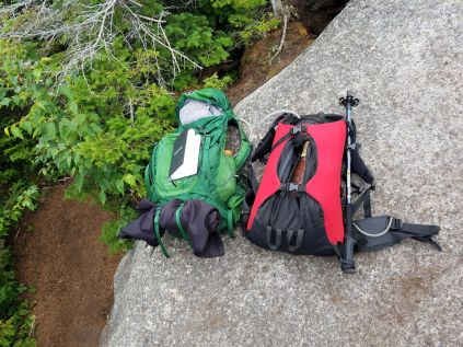 Our packs ... much lighter than when we started, but still a decent amount of weight to have trekked so far with ...