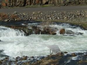Fishing platform over whitewater at Sherar's Falls