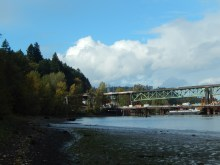 Sunbreak above the under-construction Sellwood Bridge and downtown beyond