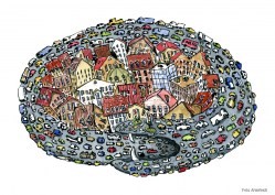 Drawing of a city being strangled by car snake