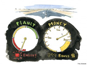 Drawing of a planet and money speedometer