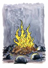 drawing of a camp fire