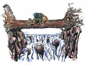 Drawing of a hiker, crossing a river over a fallen tree trunk