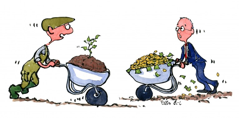 farmer with wheelbarrow with sprout meets banker with wheelbarrow with money