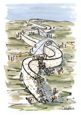 drawing of wall builders and bridge builders