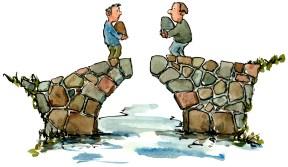 Drawing of two bridge builders