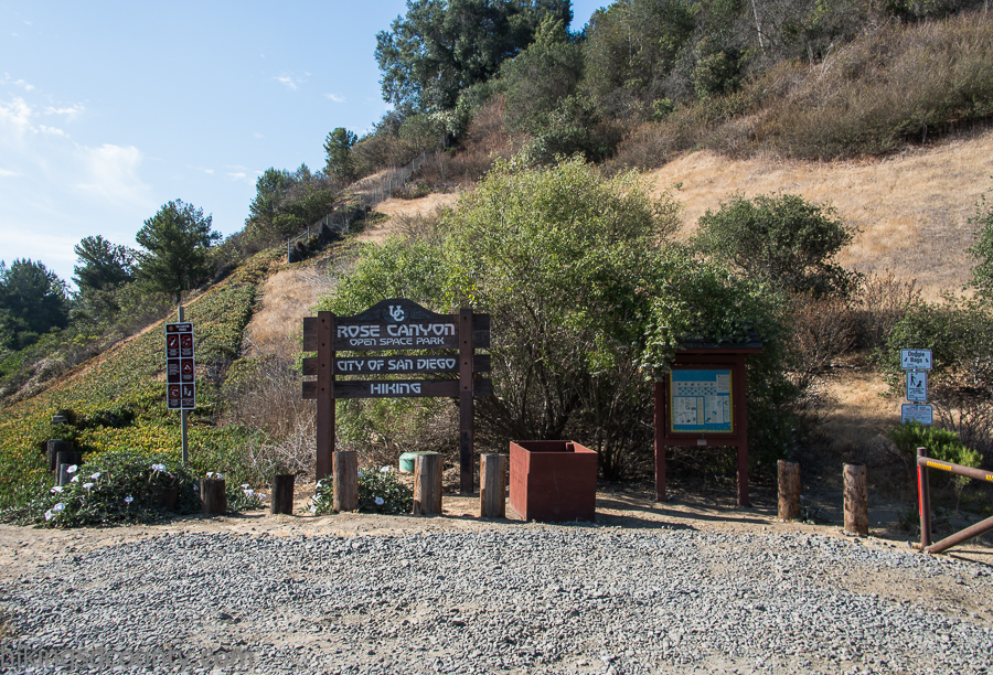 The Rose Canyon trail head on Genesse Ave