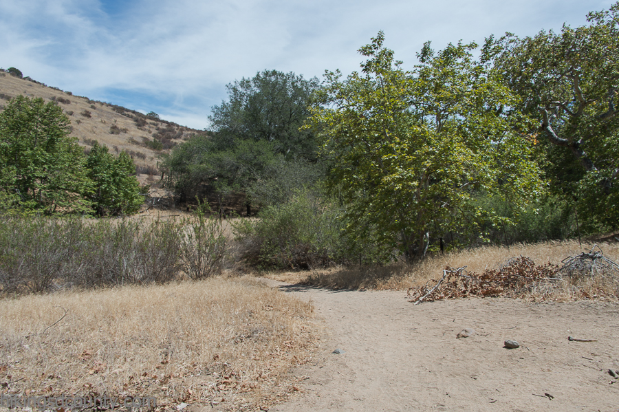 Crossing the dry creek bed at Hollenbeck Canyon