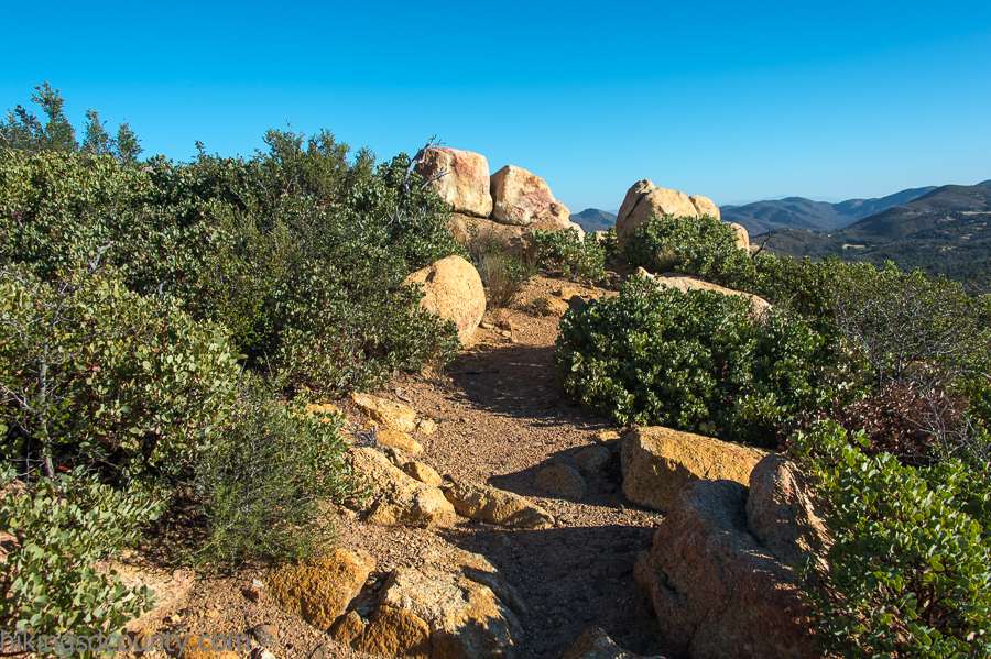 Manzanita and boulders dominate the upper section of the Oakzanita trail