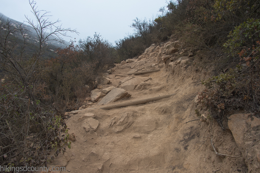 A steep and rocky stretch of trail