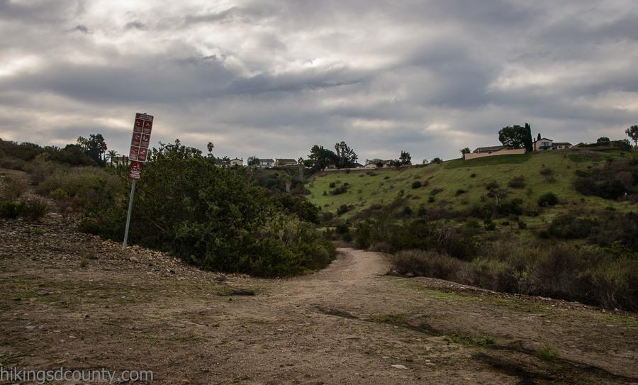 Rancho Mission Canyon trail head at Hemingway Drive