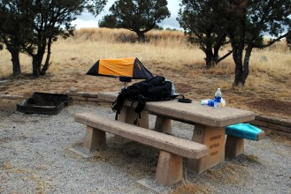 Second campsite. Nice to have a table.