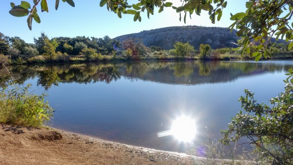 Enchanted Rock behind Moss Lake