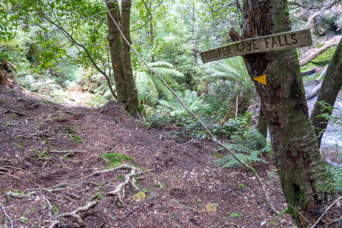 Sign to Shower Cave Falls