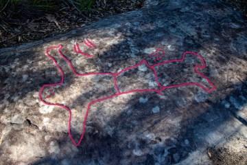 Aboriginal engraving of man or woman near Gibberagong Track
