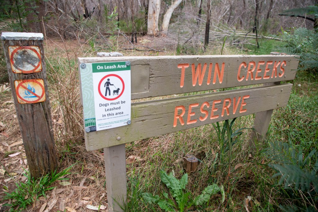 Twin Creeks Reserve sign