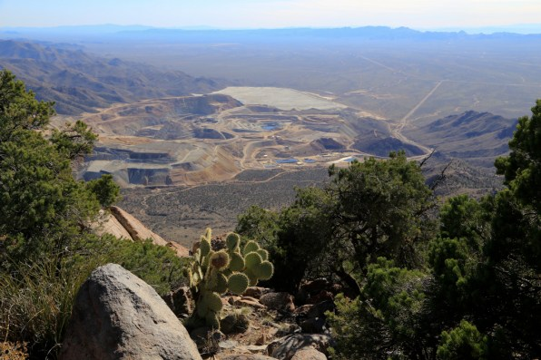 Looking south at Mineral Park (open pit mine)