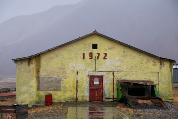 Barn (Animal Farm) at Pyramiden; the 1927 denoting the year Russia purchased the mining town from Norway