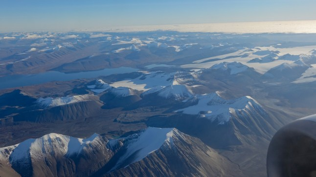 Svalbard seen from the plane as we near Longyearbeen