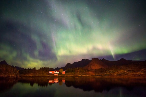 Aurora borealis (northern lights) from Nyvågar Rorbuhotell, near Kabelvåg