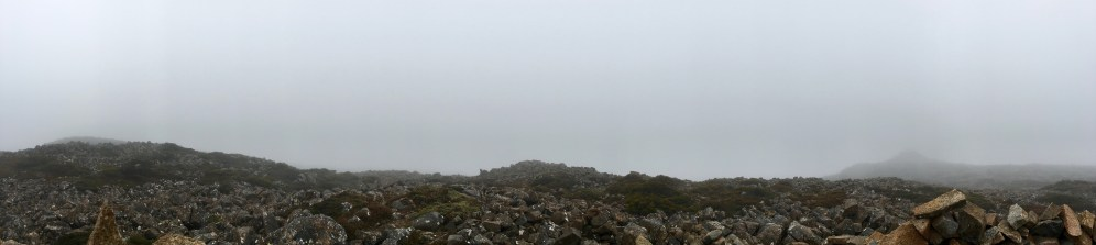 Panorama of the cloudbank at the summit of Mt Field East