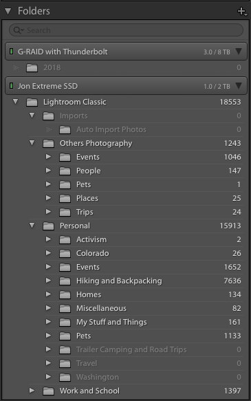 Image of my folder structure in Lightroom Classic, mirroring my folders in CC.