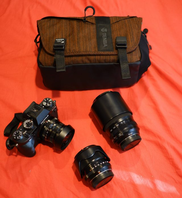 My camera gear for backpacking with my bag, the Tent DNA 8