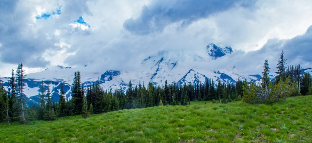 Mount Rainier on a stormy day, taken near Sunrise Point