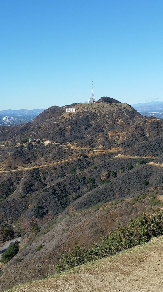 Hollywood sign and the trails underneath the sign