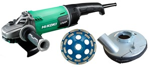 Hikoki Shop Hikoki Winkelschleifer + Betonabsaughaube + Diatopf 180 mm G23UDY2 + Absaughaube + Diatopf (Karton)