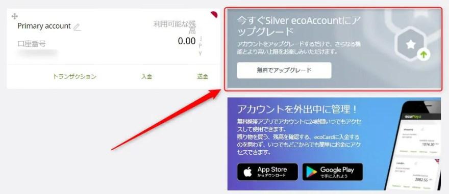 今すぐSilver ecoAccountにアップグレード