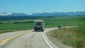 rv with tetons in back