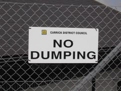 A Carrick District Council No Dumping sign