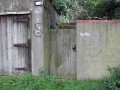 A wooden gate and graffiti tagging