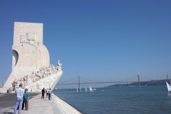View of the Monument with the 25th of April Bridge and the Cristo Rei Statue