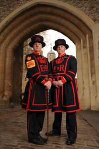 Chief Yeoman Warder Alan Kingshott and Yeoman Gaoler Chris MortonThe Queen's Body Guard, known as the Yeomen of the Guard (or 'Beefeaters'), are a bodyguard of the British Monarch. There are 73 Yeomen of the Guard, all of whom are former officers and sergeants of the British Services. It is the oldest of the Royal bodyguards and the oldest military corps in existence in Britain.(Photo credit: Nick Wilkinson/newsteam.co.uk)
