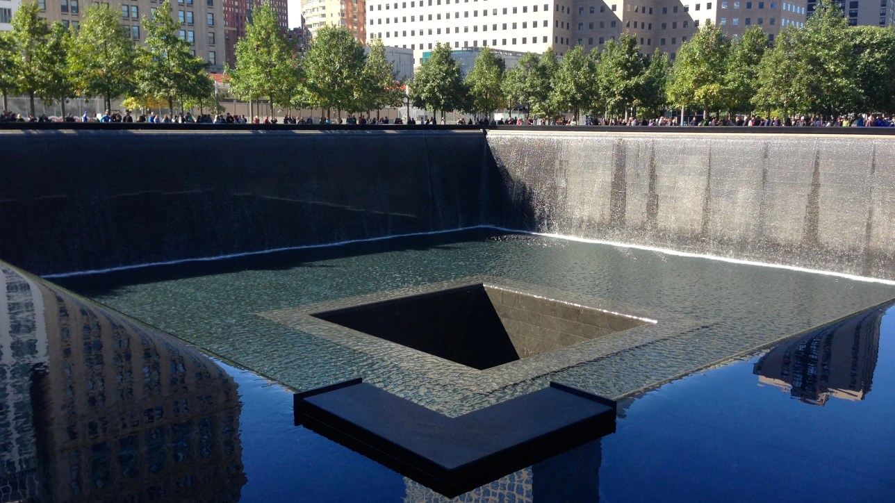 Reflecting pool and waterfall.  There are two.
