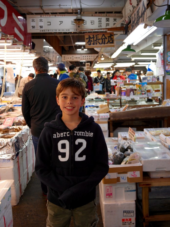 The fish market is crowded and the aisles are narrow. Wear closed shoes!