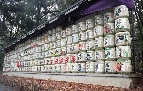 Saki donated to the Meiji Shrine by various saki makers.