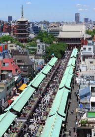 Tourist shops leading to the entrance of the Senso-ji Temple.