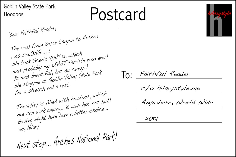 Goblin Valley Postcard back