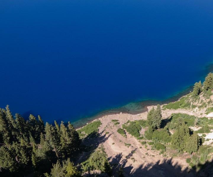 Looking down into the caldera at Sinnott Memorial Overlook