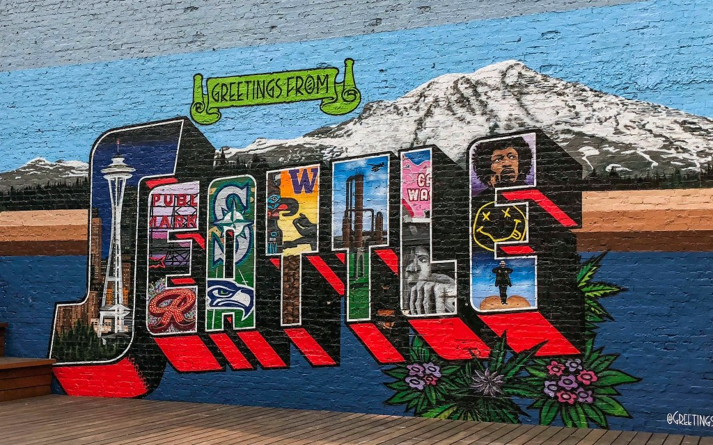 Postcard Mural Seattle Washington #belltownseattle